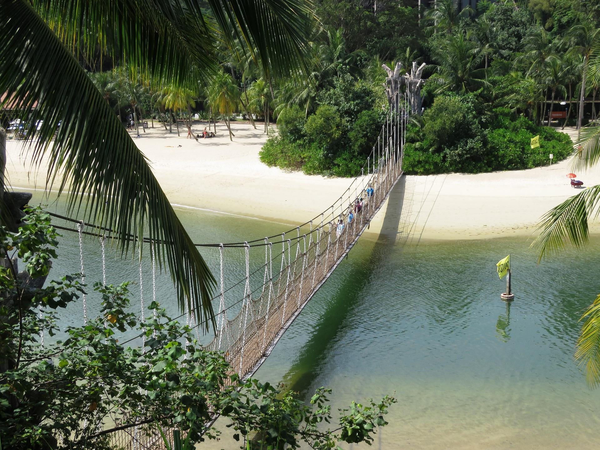 Playa en la isla de Sentosa, Singapur