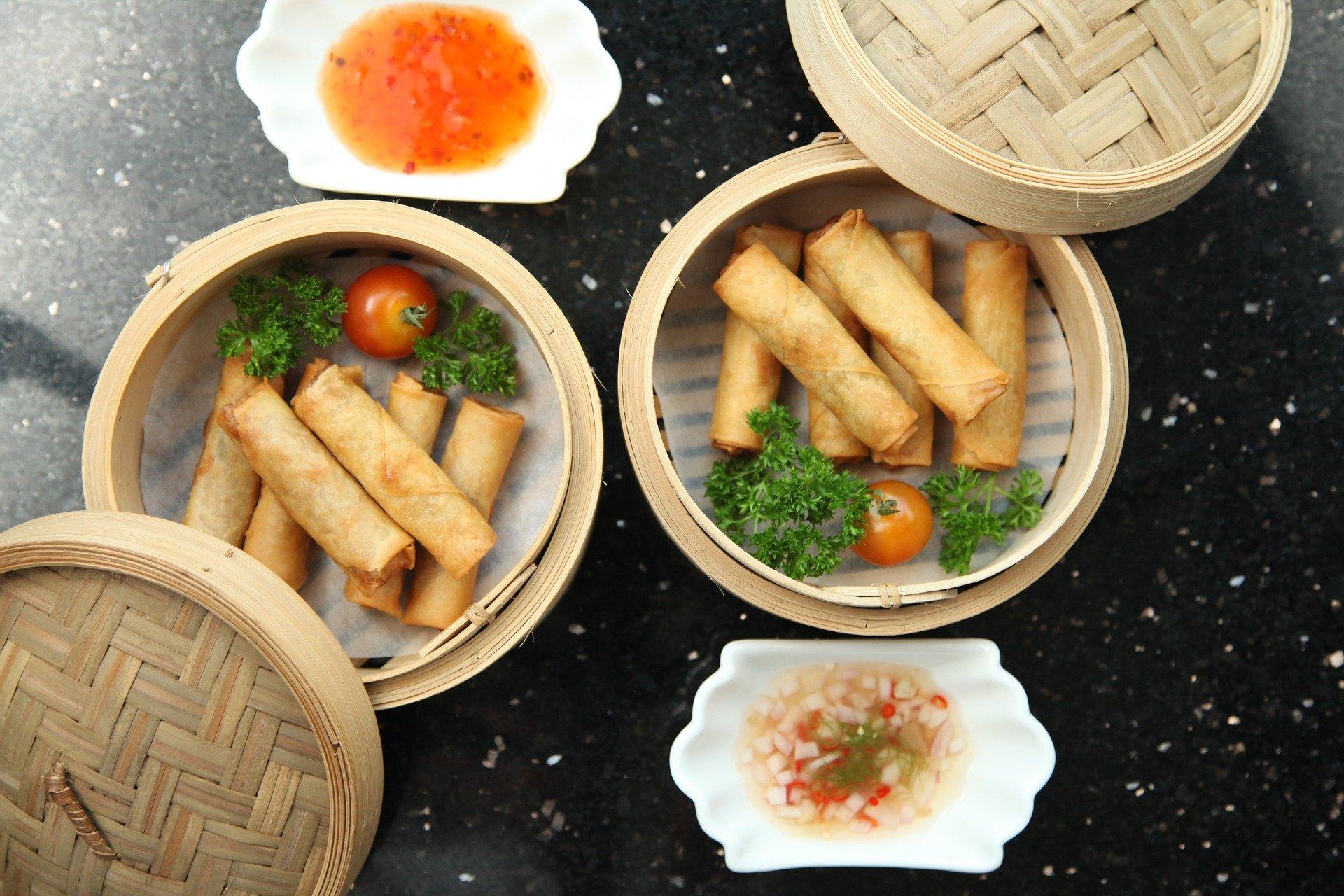 Rollitos de primavera; comida en china