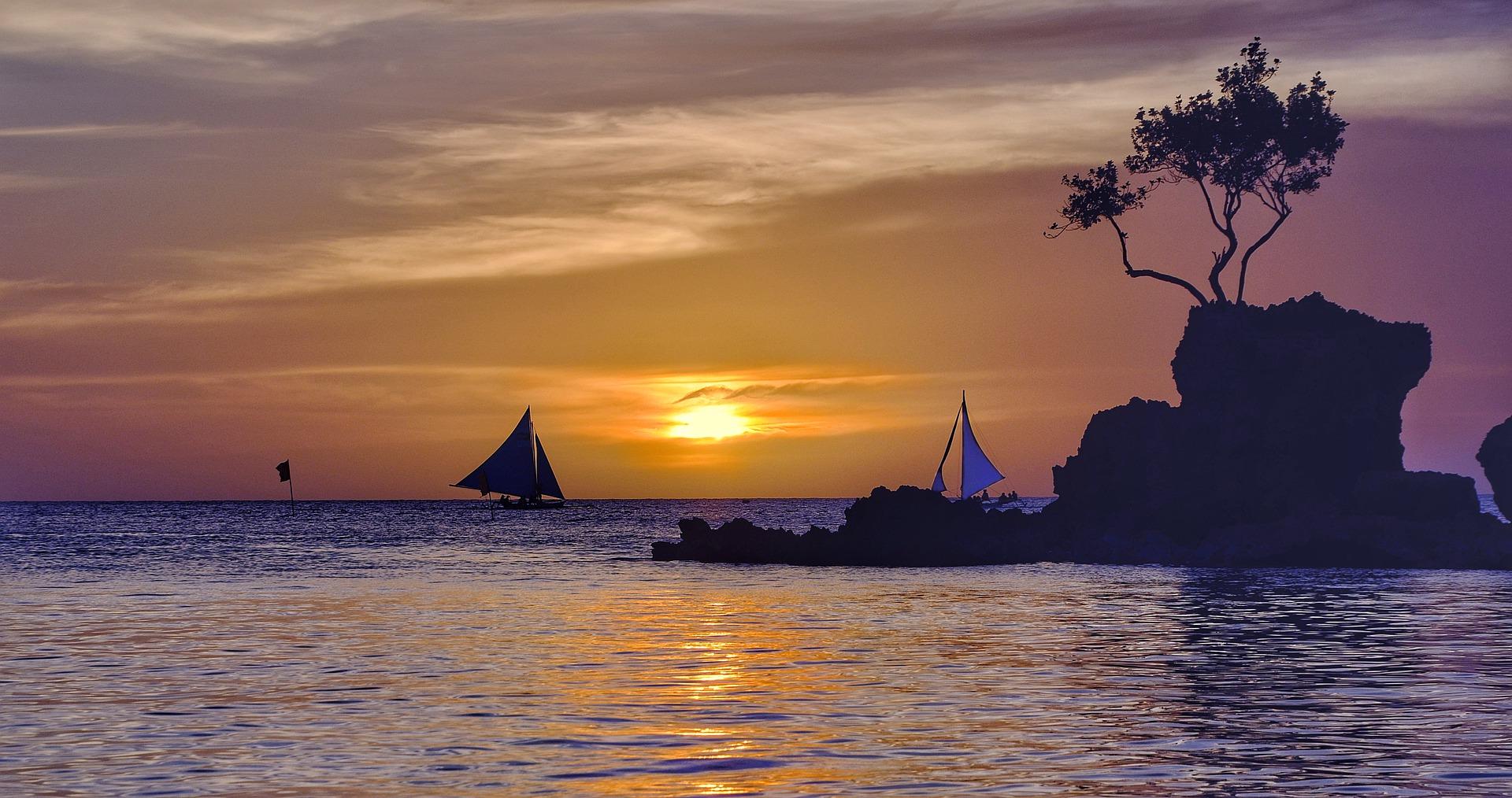 Puesta de sol mar Boracay, Filipinas